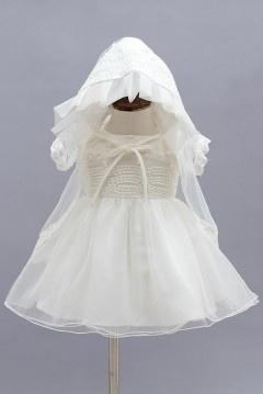Robe baptême fillette ivoire avec boléro et chapeau