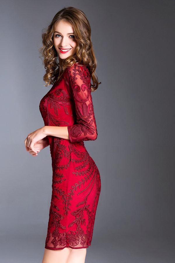 Robe de cocktail habillé bordeaux dentelle guipure pour mariage ... ca60abc4286e