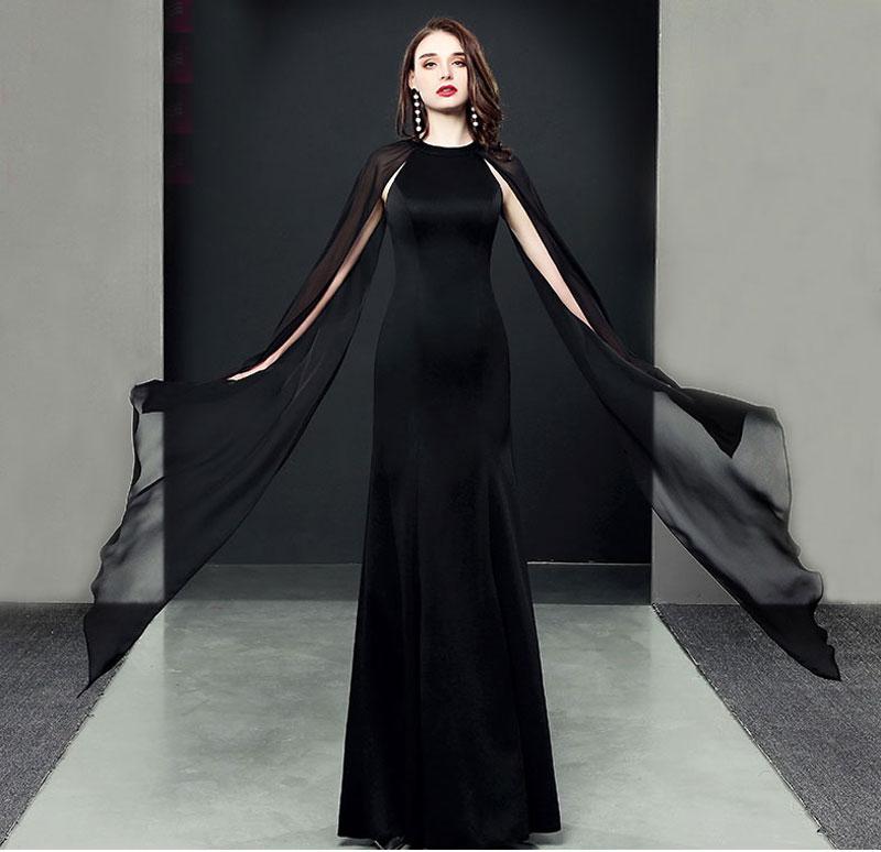 robe soirée noire mousseline manches ouverte mode