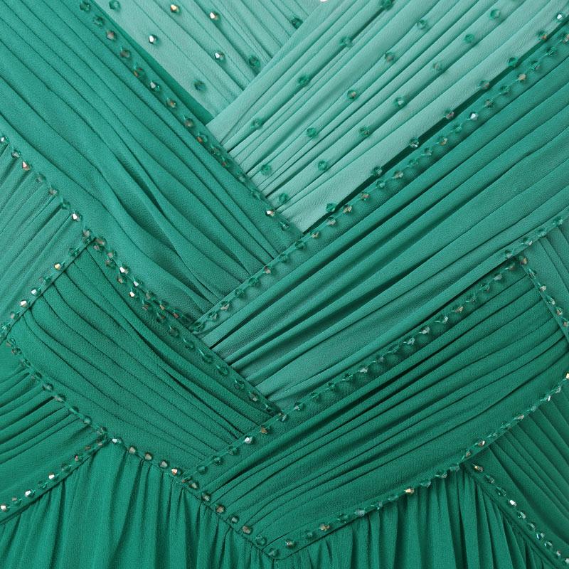 robe de mariage longue bustier vert drapé avec des perlettes