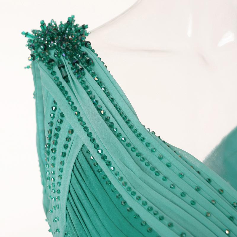 robe de mariage longue  épaules drapées embellissent des perles