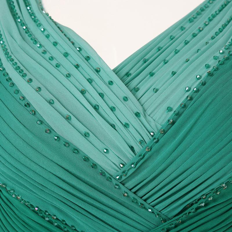 robe de mariage longue bustier vert à col V avec des perlettes
