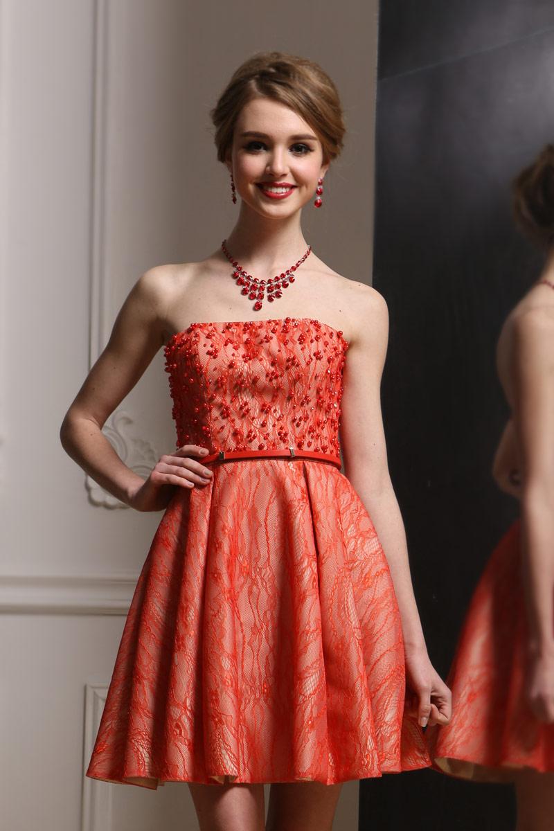 96331446189 Petite robe rouge dentelle bustier perlé avec ceinture - Persun.fr