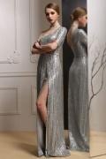 Robe de soirée sequin argenté fendue & asymétrique