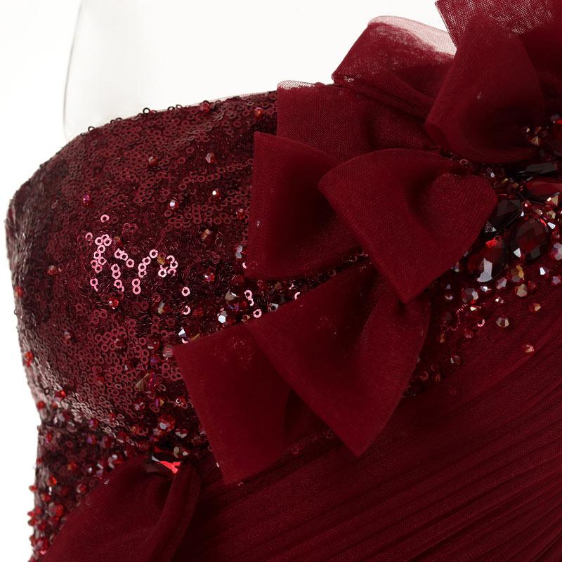 robe de mariée de soirée embeille des paillettes et des noeuds