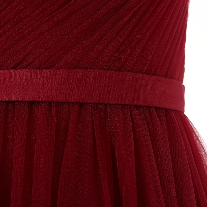 robe de mariée de soirée rouge ceinturée et drapée