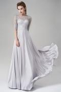 Silk Like Satin Half Sleeves A-line Long Gray Evening Dress