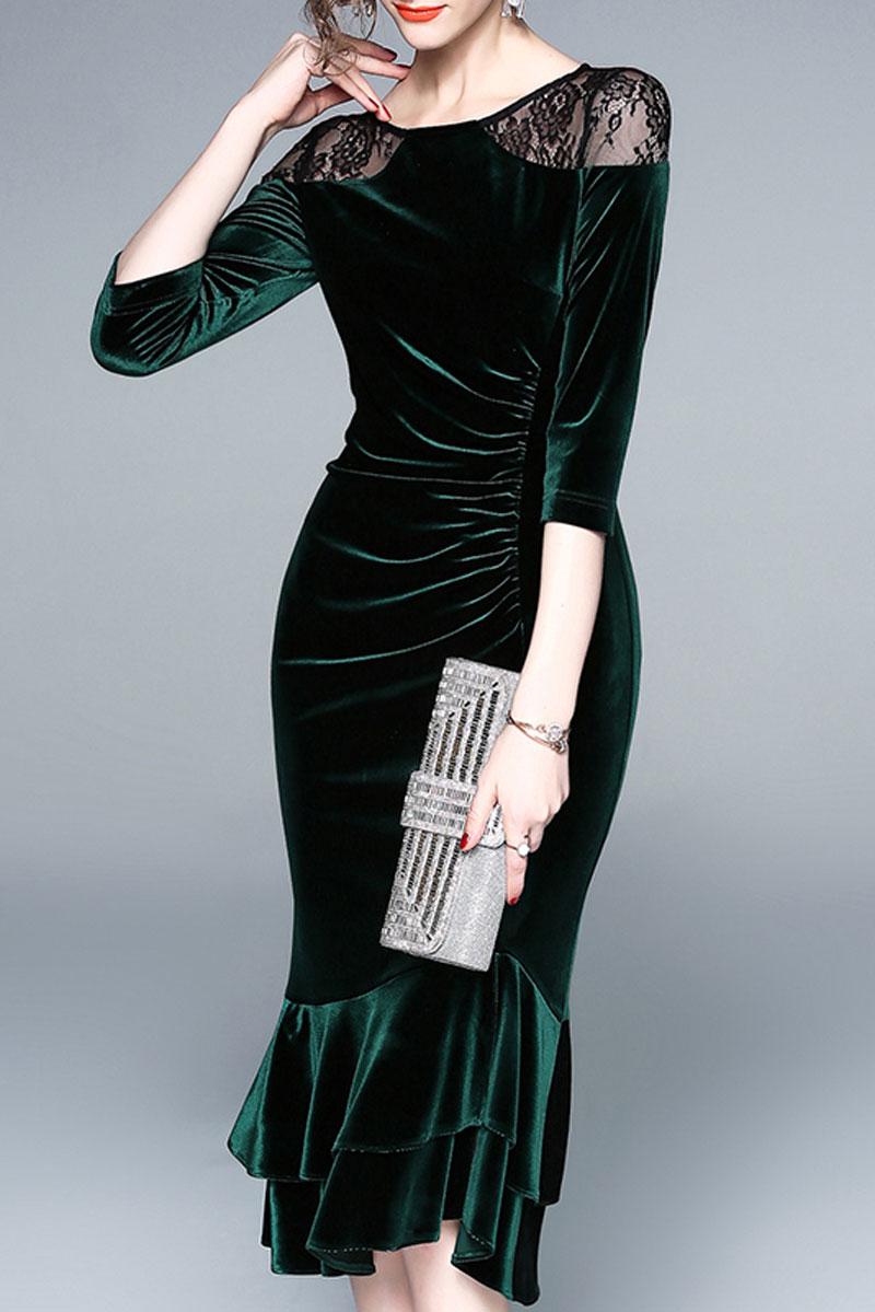 robe de soirée élégante mi-longue vert foncé sirène en velours épaule en dentelle noire