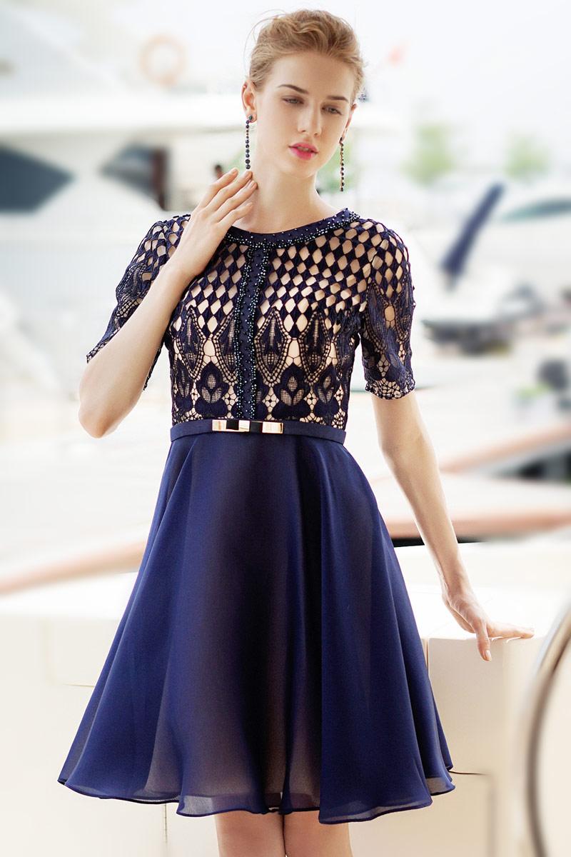 Robe soiree courte bleue