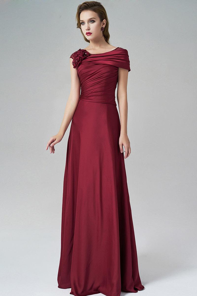 Günstig Chic Bodenlang Rot A-Linie Silk like Satin ...