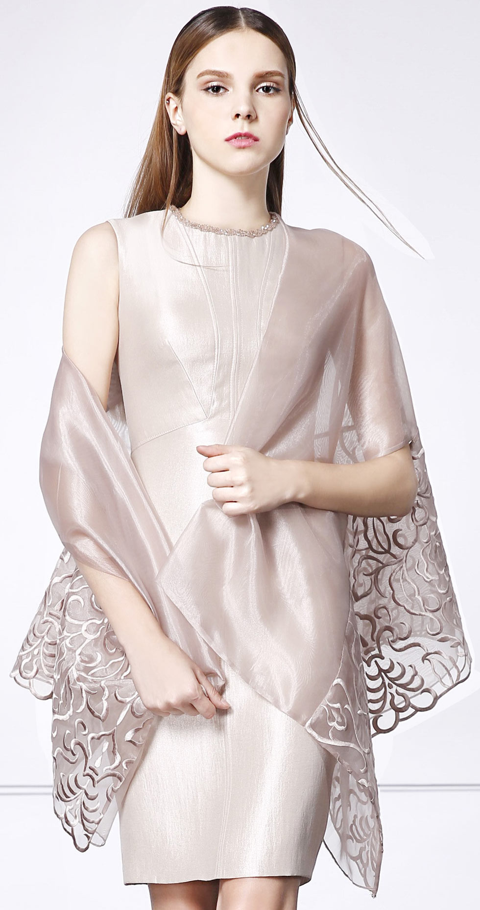 robe de soirée champagne courte avec étole chic