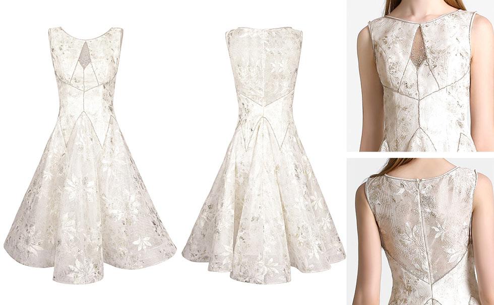 robe d'anniversaire blanche sans manche dentelle
