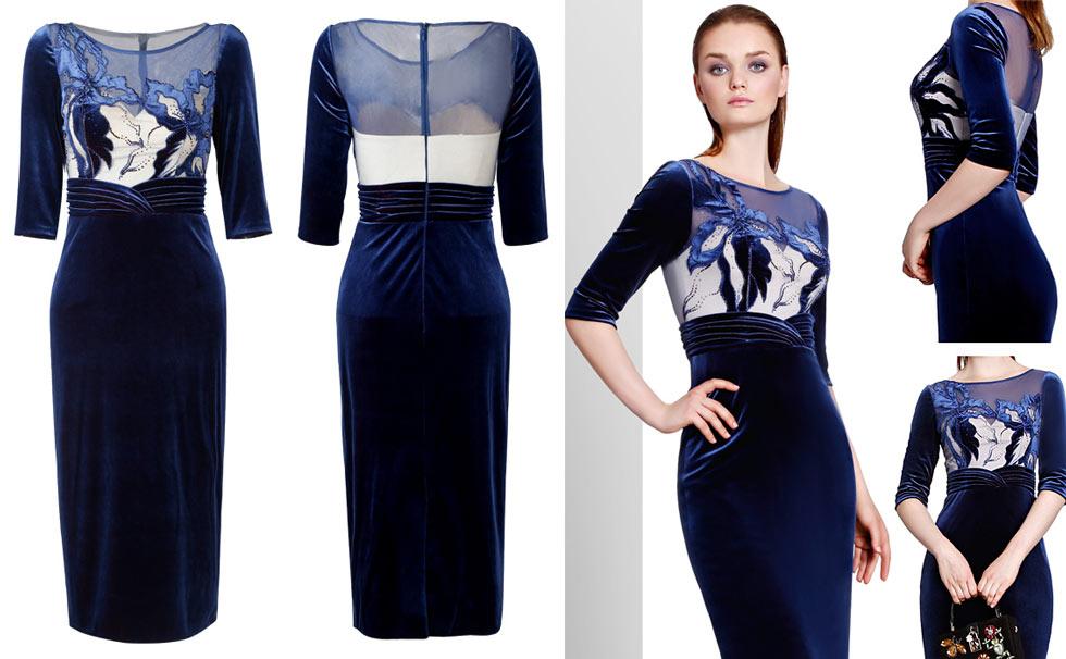 robe de soirée courte bleu à manches mi-longue col et dos transparent en velours