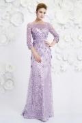 Bateau A-line sleeved Sequin Purple Evening Dress