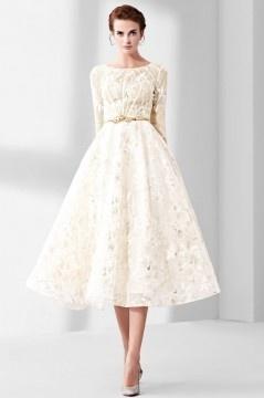 Vintage robe de mariage mi longue en dentelle guipure florale avec manche
