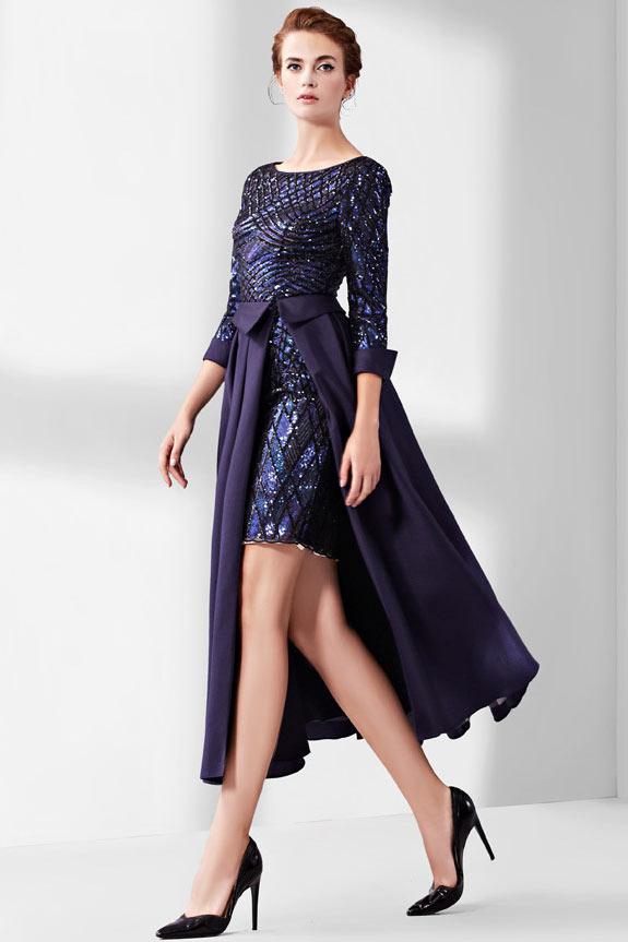robe de bal courte bleu nuit en sequin manche longue & jupe détachable