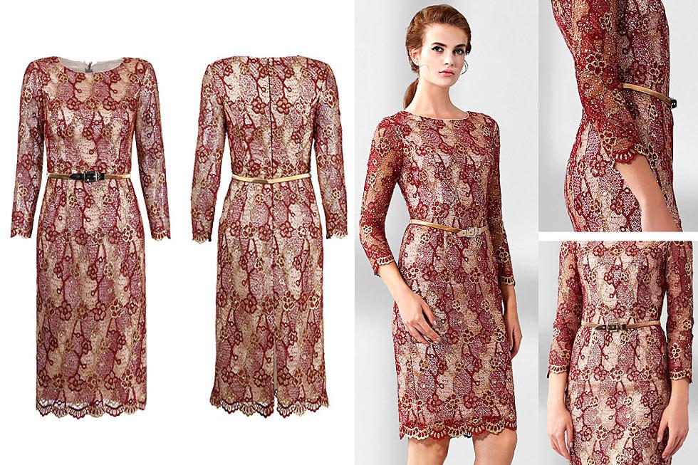 vintage robe bordeaux mariage dentelle guipure avec ceinture à manche