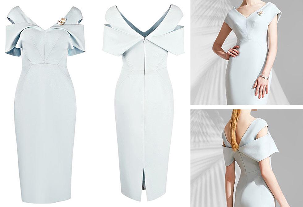 robe de soirée bleu pastel pour témoin mariage style fourreau