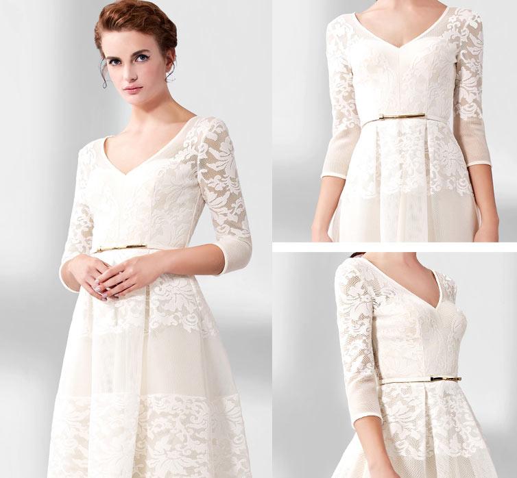 Vintage robe maxi mariée mi longue à encolure V & manche courte