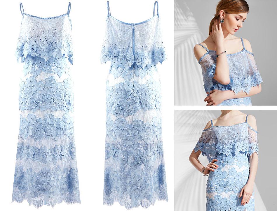 robe courte bleu clair épaule dégagée en dentelle bustier à volant avec bretelle fine