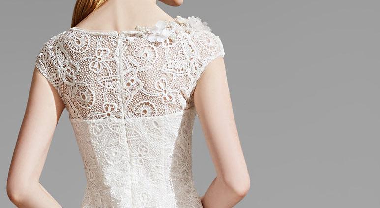 robe de dentelle vintage beige mi longue pour invité mariage