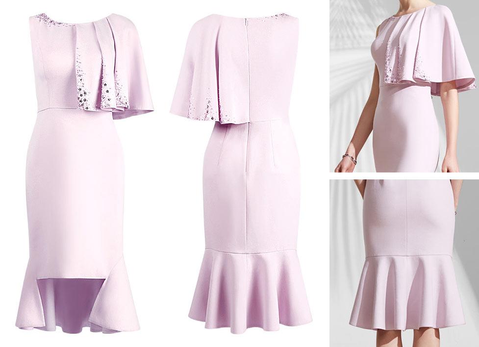 robe de soirée rose courte sirène à cape asymétrique pour mariage