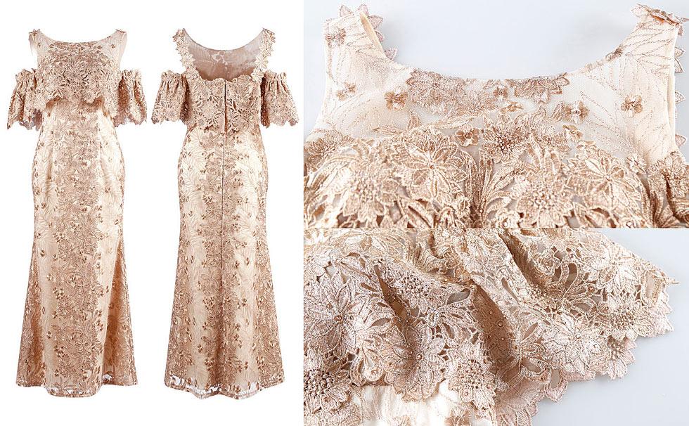 robe champagne de soirée vintage dentelle guipure
