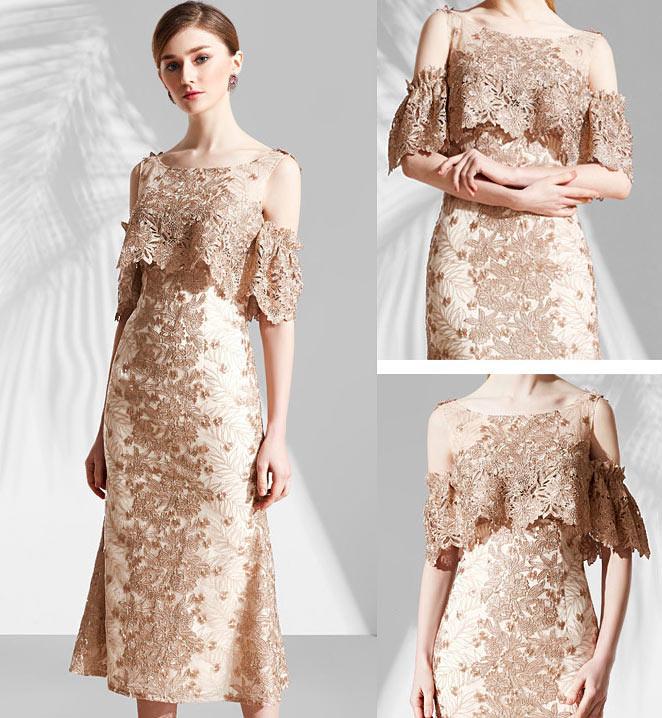 robe de soirée élégante à épaule découverte pour témoin de mariage