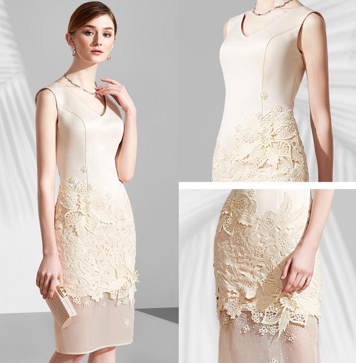 robe champagne de soirée mi longue jupe florale en dentelle