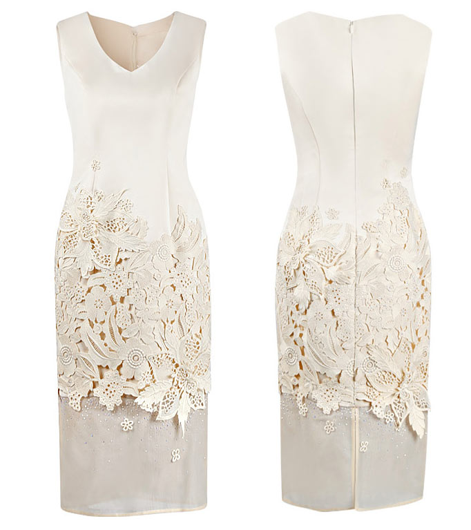 robe mi longue pour soirée mariage avec dentelle guipure délicate