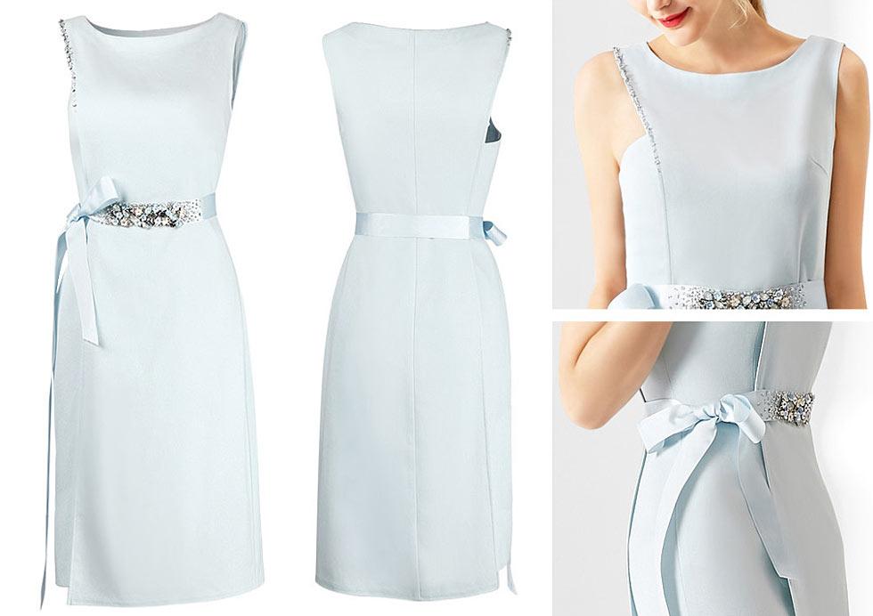 chic robe bleu pale orné de bijoux pour soirée de mariage