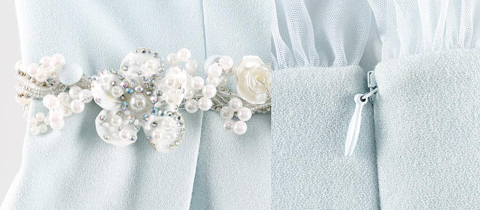 2d2420a9e183 Combinaison robe pantalon bleu pâle taille ornée de bjoux   manche ...