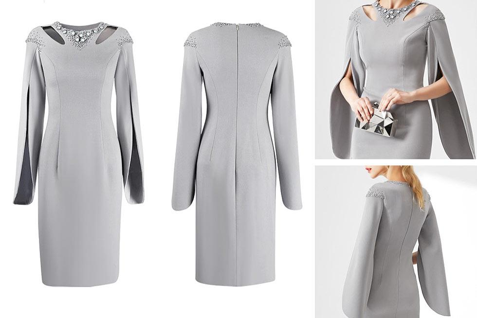 robe fourreau de soirée grise à manche longue pour mariage encolure bijoutée