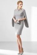 Robe de luxe grise fourreau col ornée de bijoux & manche découpée