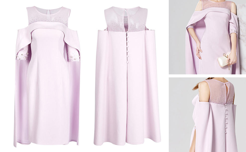robe de soirée courte rose col illusion embelli de strass épaule dégagé à manches capes