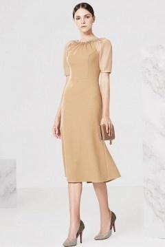 Robe ambre sirène dos échancré en U avec manche transparent pour mariage