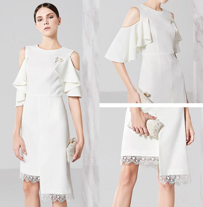 robe de soirée blanche orné épaule dénudée à jupe asymétrique