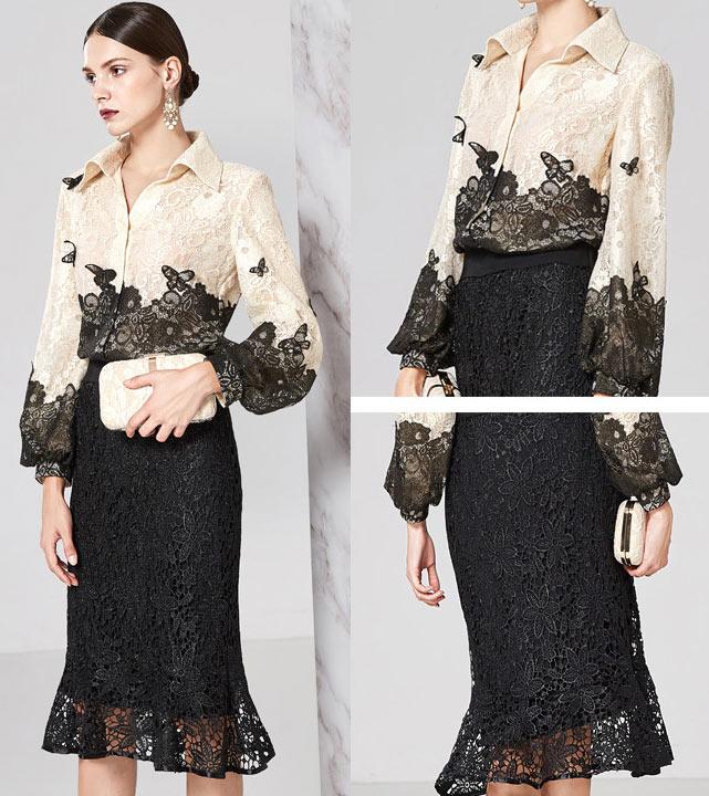 f348e6aedb4e6 ... color block en dentelle florale. robe de soirée mi longue chemisier  bicolore nude claire noire en dentelle guipure avec papillon