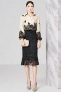 Robe chemisier en dentelle bloc couleur champagne & noir manches longues