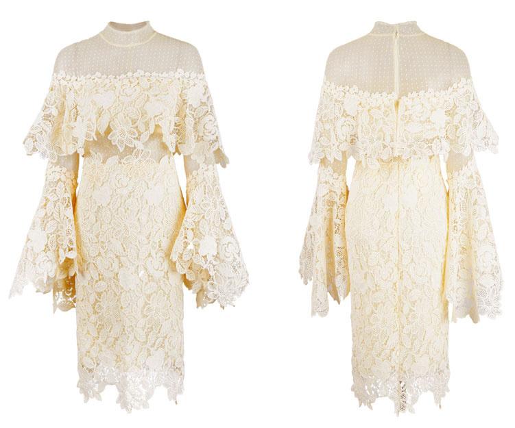robe de soirée courte jaune élégante col illusion montant en dentelle florale manches évasées