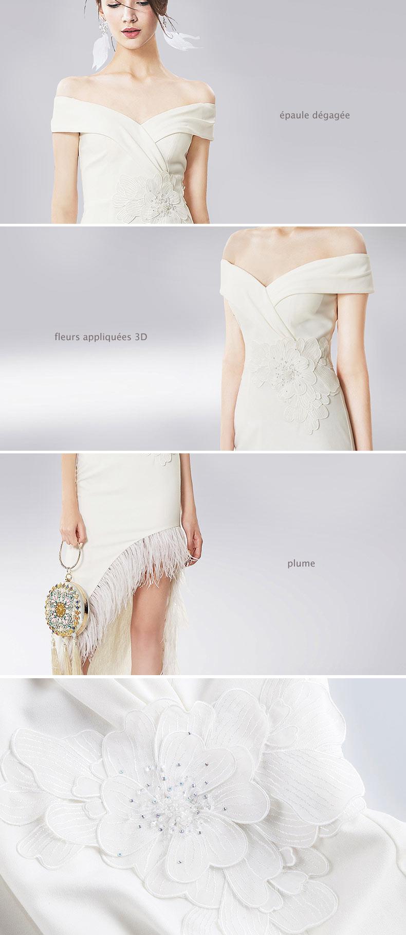 robe de gala blanche épaule dénudée appliquées de fleurs 3D & plumes