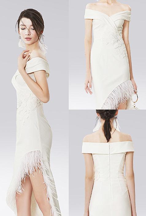 robe de cérémonie blanche fourreau épaule nue