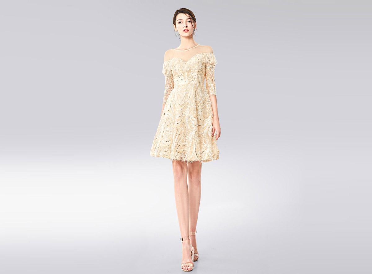 luxe robe de bal chic avec manches pour soirée de promo