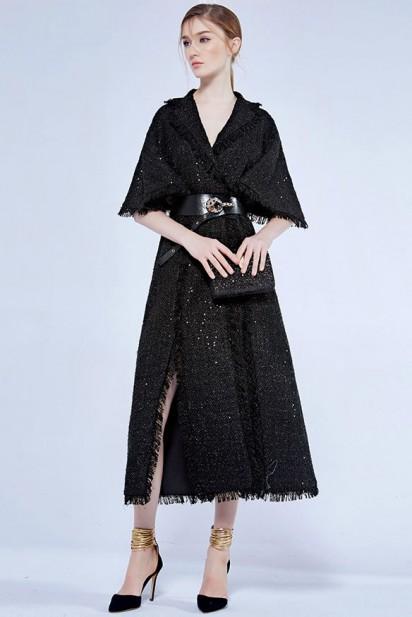 robe noire midi avec manche en sequin pour rendez-vous