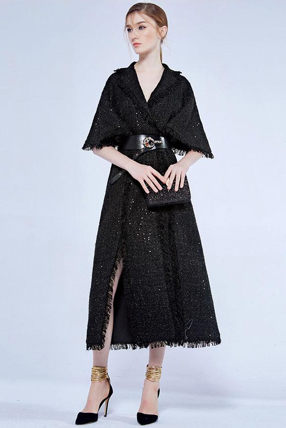 Chic Robe de soirée noire col v en sequin avec ceinture vintage