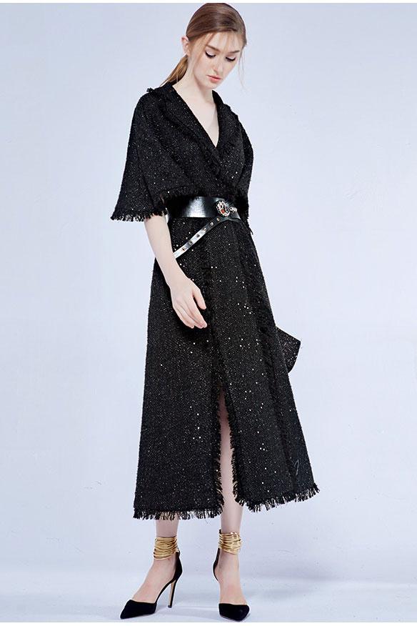 Chic Robe de cocktail noire col v en sequin avec ceinture vintage