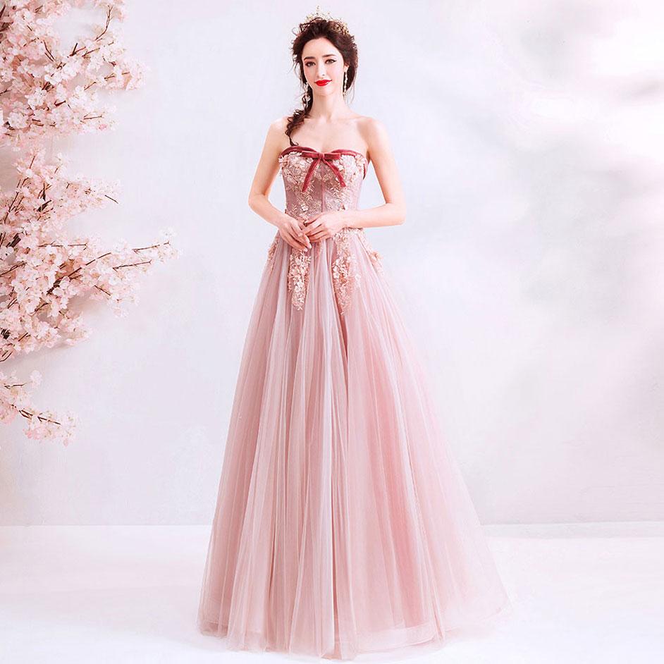 robe de soirée bustier vintage rose poudré pour mariage pas cher