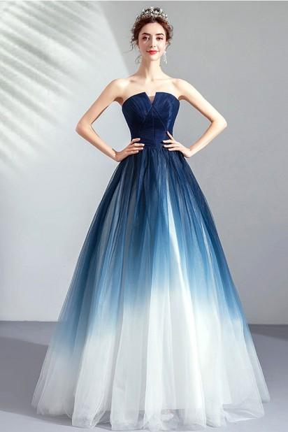 Robe de soirée princesse bleu blanc dégradé bustier découpé