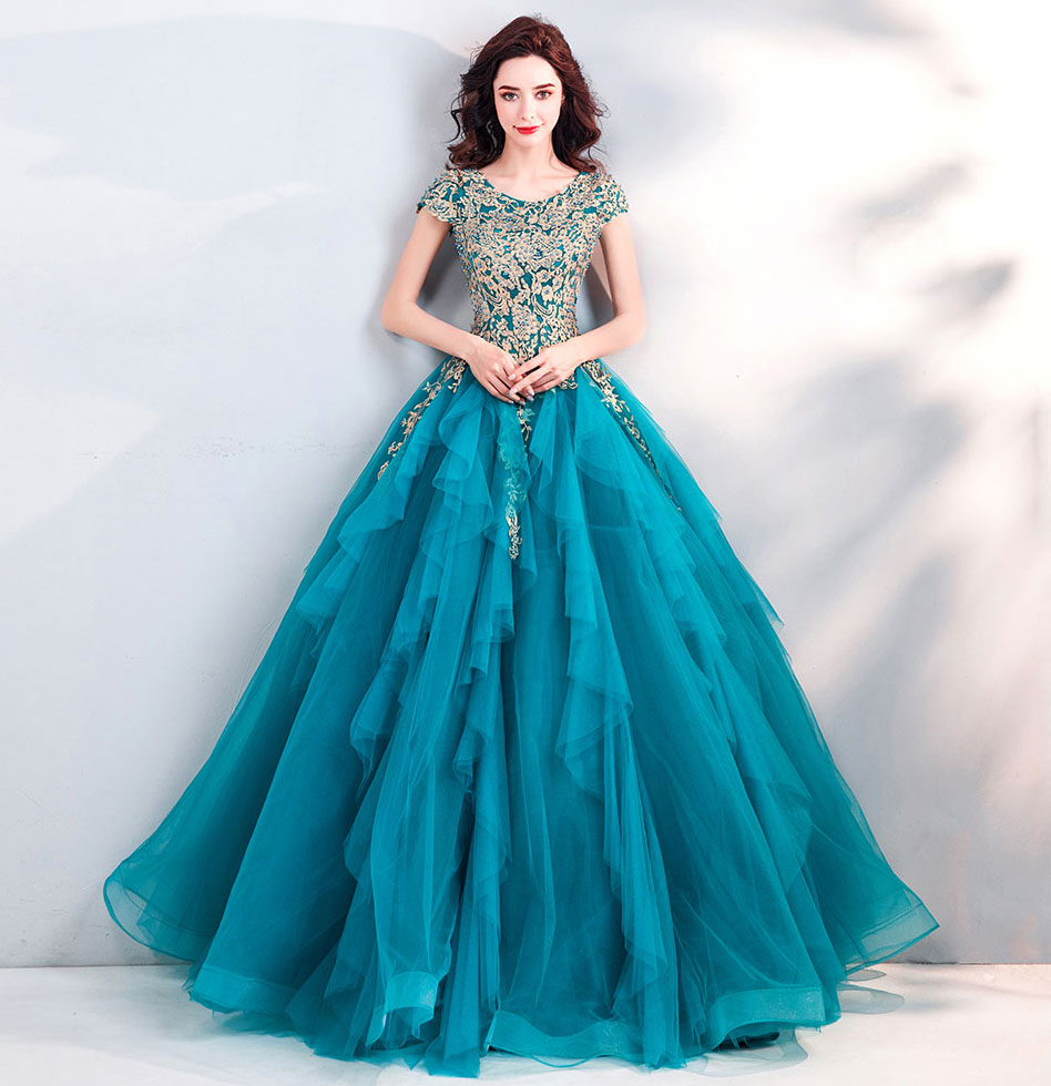 robe de soirée bleu turquoise pas cher