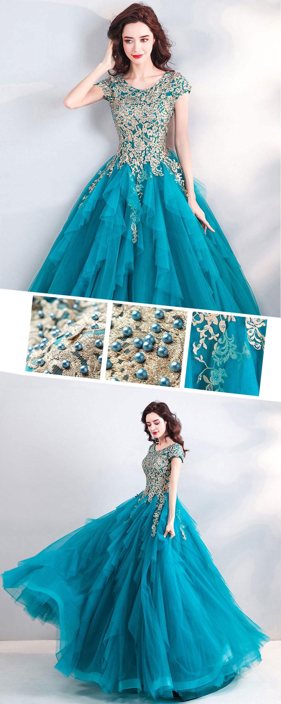 robe de bal turquoise brodé pas cher